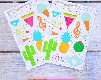 Sticker Sheet | Planner Stickers | Colourful Stationery | Laptop Stickers | Pineapple | Cactus | Tea | 28 Kiss Cut Stickers