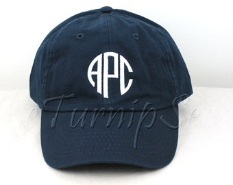 Ladies' Monogram Baseball Cap - Circle Shaped Letters - Custom Color Hat and Embroidery.