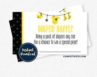 Bee Baby Shower Diaper Raffle, Diaper Raffle Tickets, Bumble Bee Diaper Raffle INSTANT DOWNLOAD