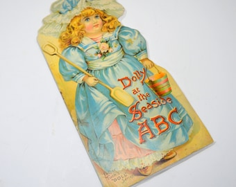 Antique Dolly at the Seaside ABC Book, Father Tuck's Doll Series, Oversized Shape Book, Die Cut Pages, circa 1900