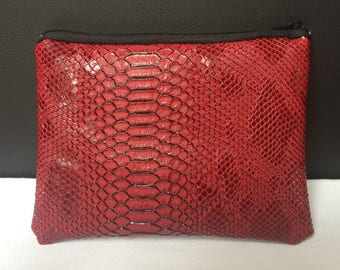 Small evening clutch makeup Python - Red and black Croc lined framework8