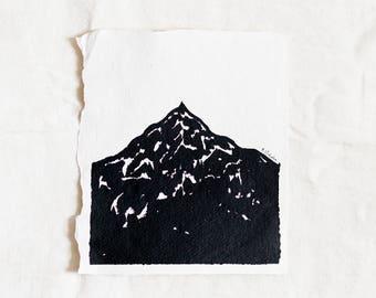 Mountain Original Landscape Ink Painting By Britt Fabello