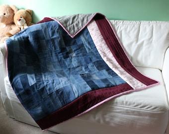 Denim, maroon and floral patchwork lap quilt