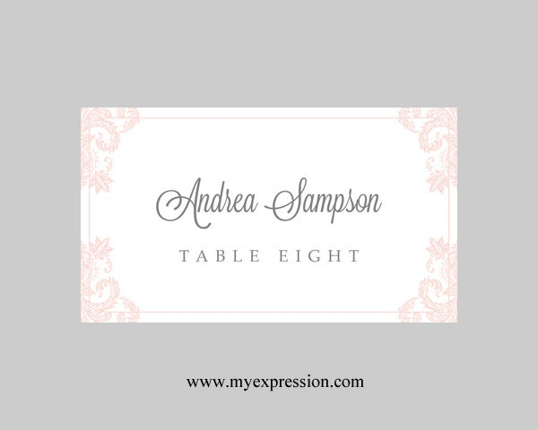 Wedding Place Cards Template Light Pink Damask Instant - Wedding place card templates free download