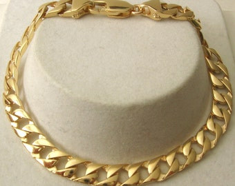 Genuine SOLID 9K 9ct YELLOW GOLD Unisex Flat Curb Bracelet with Parrot Clasp 21 cm