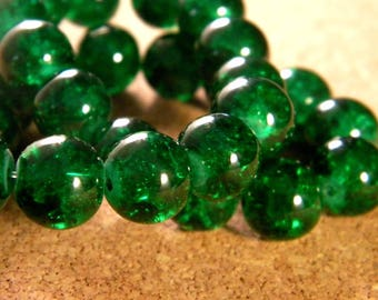 glass Crackle 10 mm - 85 beads green PE155