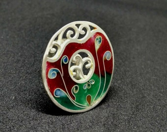Floral Art Nuveau Silver and Enamel ring