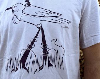 Sale - Mens T Shirt - Raven and Rabbit Design - The Journey - Light Blue Dark Blue Ink - Tee Shirt Sizes Men Small Medium Large XL XXL Sizes