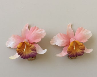 Unique Vintage Orchid Flower Clip on Earrings .