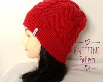 PDF, knitting pattern, cable design beanie, Aran, ladies, teens, instant download, digital download