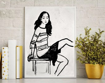 Sketch original  female portrait sketch drawing of woman wall picture modern art 007