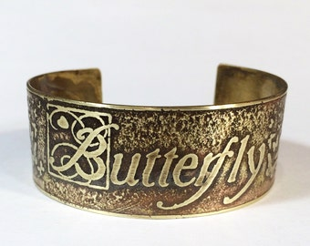 Etched Brass Cuff Butterfly Bracelet - Free Domestic Shipping