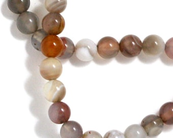 Botswana Agate Beads - 4mm Round