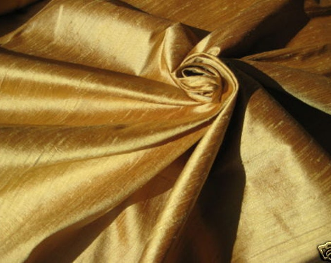 "Gold Bamboo iridescent 100% dupioni silk fabric yardage By the Yard 45"" wide"