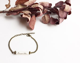 """Bracelet chain and Pearl paper - writing """"together"""""""
