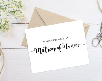 Will you be my Matron of Honor Proposal Card Matron of Honor Card Printable Cards Template Sister Matron of Honor Gift Proposal Template