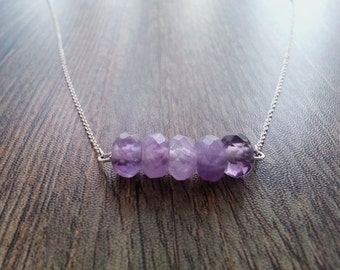 Amethyst faceted rondel Choker and sterling silver chain. Faceted amethyst necklace in a bar. Fine Sterling Silver Chain Necklace.