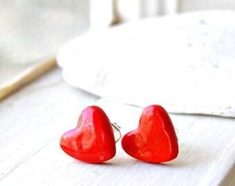 red heart earrings, stud earrings, gift for her, valentines day gift, under 10