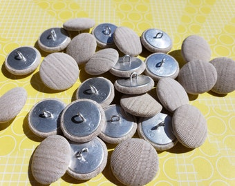 "Fabric Shank Buttons - Neutral Beige Color Shank Loop Button - 3/4"" Wide - 25 Buttons"