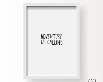 Printable Brush Lettering Print - Adventure is Calling  / DIY Room Decor