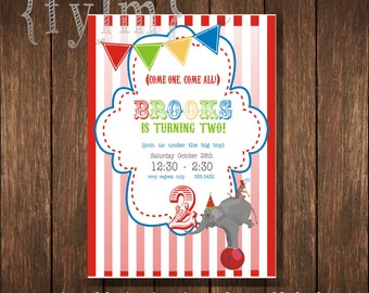 CIRCUS  Printable Party Invitations - I design - YOU PRINT - elephants - strong man - circus party