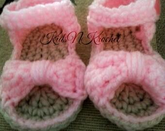 Crochet baby booties, Bow Sandals, baby flip flops