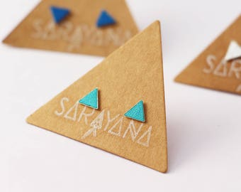 Leather Triangle Stud earrings - sterling silver earrings - geometric stud earrings -  tiny minimalist triangle stud - girl stud - colorful