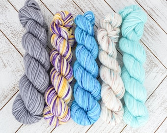 Before You Go Mini Kit - Hand Dyed Sock Yarn Heavy Fingering Weight 20g Mini Skein 92yds PlumpleBee Base 75/25 Superwash Merino/Nylon