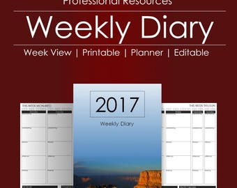 Weekly Diary and Planner | Printable Planner | Editable Diary