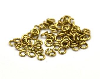 3mm Jump Ring - 200 Raw Brass Jump Rings (3x0.60mm) A0395