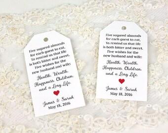 Jordan Almonds Favor Tag - Wedding Favor Tag - Custom Tag - Almond Wedding Favors - Traditional Wedding Favor - Candy Favor - Dragee - LARGE