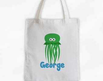 Personalized Jellyfish Canvas Tote Bag - Sea Animal Custom Travel Overnight Bag for Boys or Girls - Ocean Reusable Tote (3045)