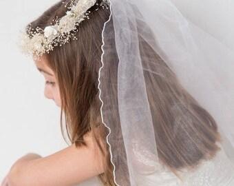 First Communion, Primera comunion,Holy First Communion Hair Accessories, Girl Wreath,communion veil,White First Communion Veil
