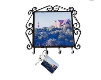 Frame with Keyhooks, Middle Island Michigan Lighthouse Design, Home Décor, Wrought Iron, Keyrack, Photograph, Ceramic Tile