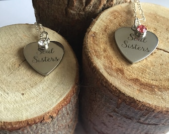 Soul Sister Custom Birthstone Necklace - Set of Two