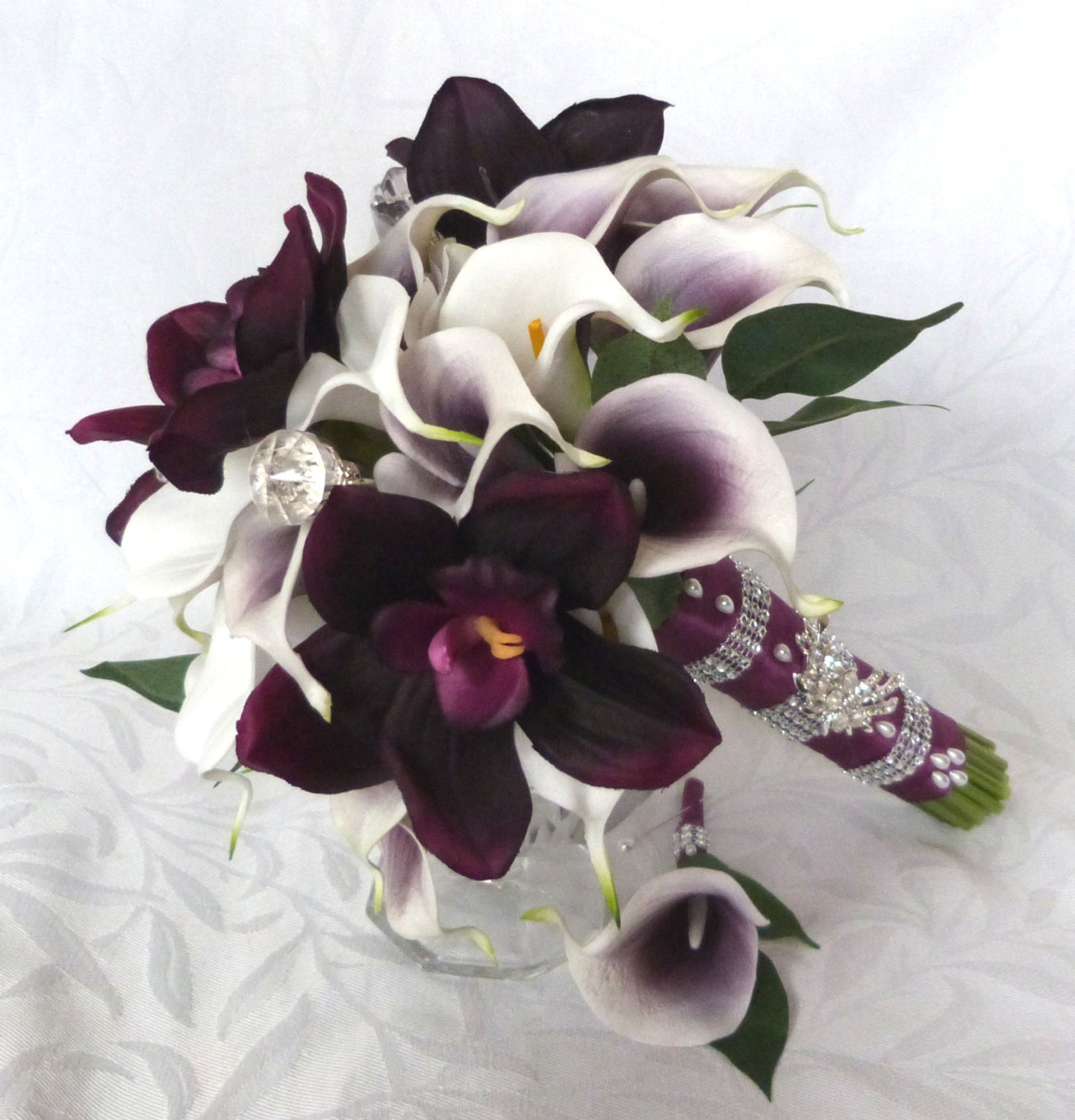 Picasso real touch calla lily bridal bouquet plum orchid white zoom izmirmasajfo