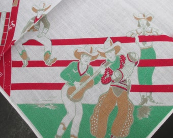 Vintage Cowboy Handkerchief Printed Red Green Novelty Print Cotton Western Theme