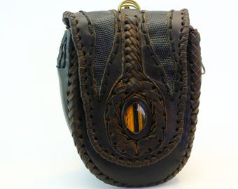 LEATHER BELT POUCH with tiger eye and lizard skin