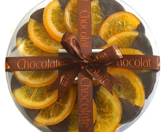 Gourmet foodie gifts, luxury chocolate, Oranges dipped in dark chocolate, unique foodie gifts, corporate event gift, dark chocolate gift