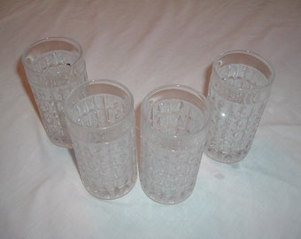 a set of   4 vintage frosted cut glass drink glasses