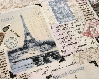 Fat Quarter PARIS LANDMARK PATCHWORK Blush Printed Cotton Quilt Fabric  Fq French France Eiffel Tower the Louvre
