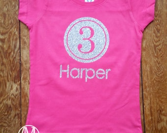 Birthday girls shirt, name and age sparkly glitter birthday fitted shirt, girls birthday shirts