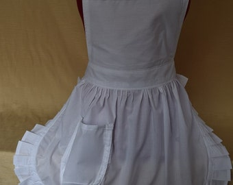 Retro Vintage 50s Style Full Apron / Pinny - White
