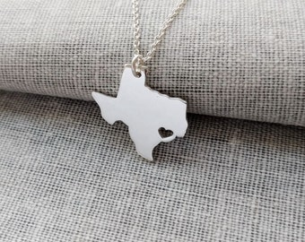 Texas State Necklace, TX State Charm Necklace ,State Shaped Necklace,Personalized Texas State Necklace 925 Sterling Silver With A Heart