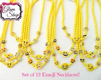 Emoji Necklaces - Set of 12 - Birthday Party Favors Accessories - Emoticon, Smiley Face, Emoji Faces, Prizes, Texting Faces Party Supplies