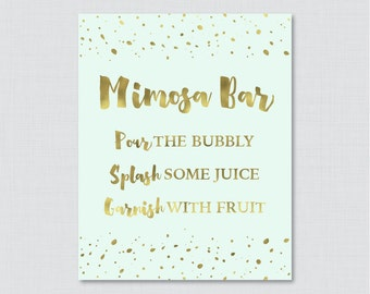 Mimosa Bar Sign with Mint and Gold Faux Foil - Bridal Shower Mimosa Bar Sign Printable - Modern Mint and Gold Bridal Shower Sign - 0010-M