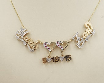 name  necklace ,  16 diamonds  ,  . 14k solid gold