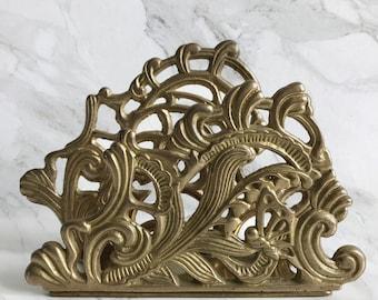 Ornate Brass Mail Holder / Napkin Holder