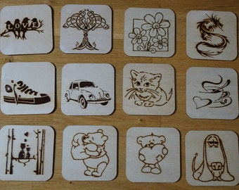 Birch plywood hand engraved coasters with different patterns