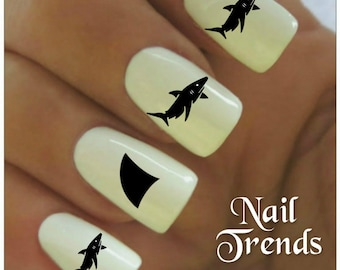 Shark Nail Decal 20  Vinyl Adhesive Decals Nail Tattoos  Nail Art